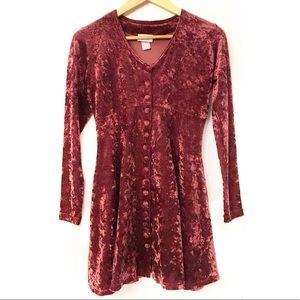 Luly K Vintage Crushed Velvet Skater Dress